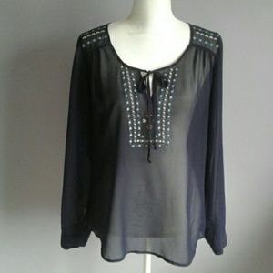 Daniel Rainn Sheer Embroidered Blouse